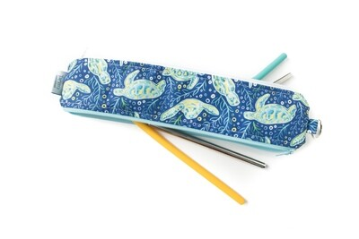 Reusable Straw Bag, double sided -turtle