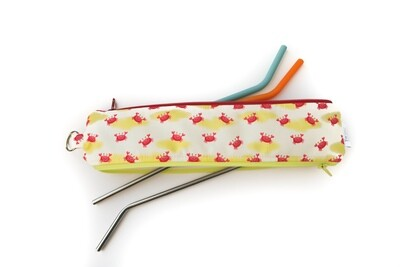 Reusable Straw Bag, double sided -Crabby