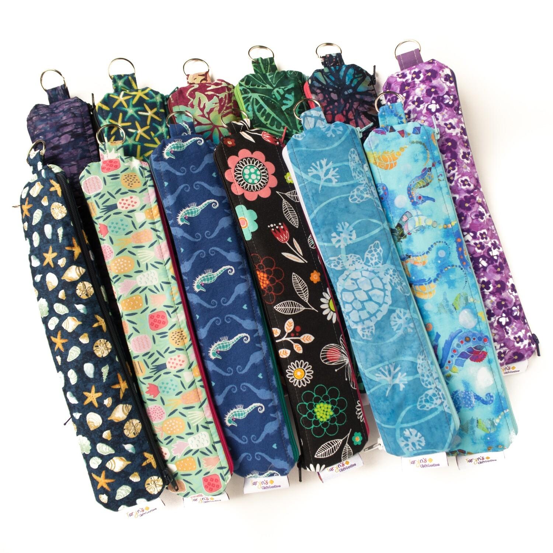 Reusable Straw Bag, double sided -custom length or fabric