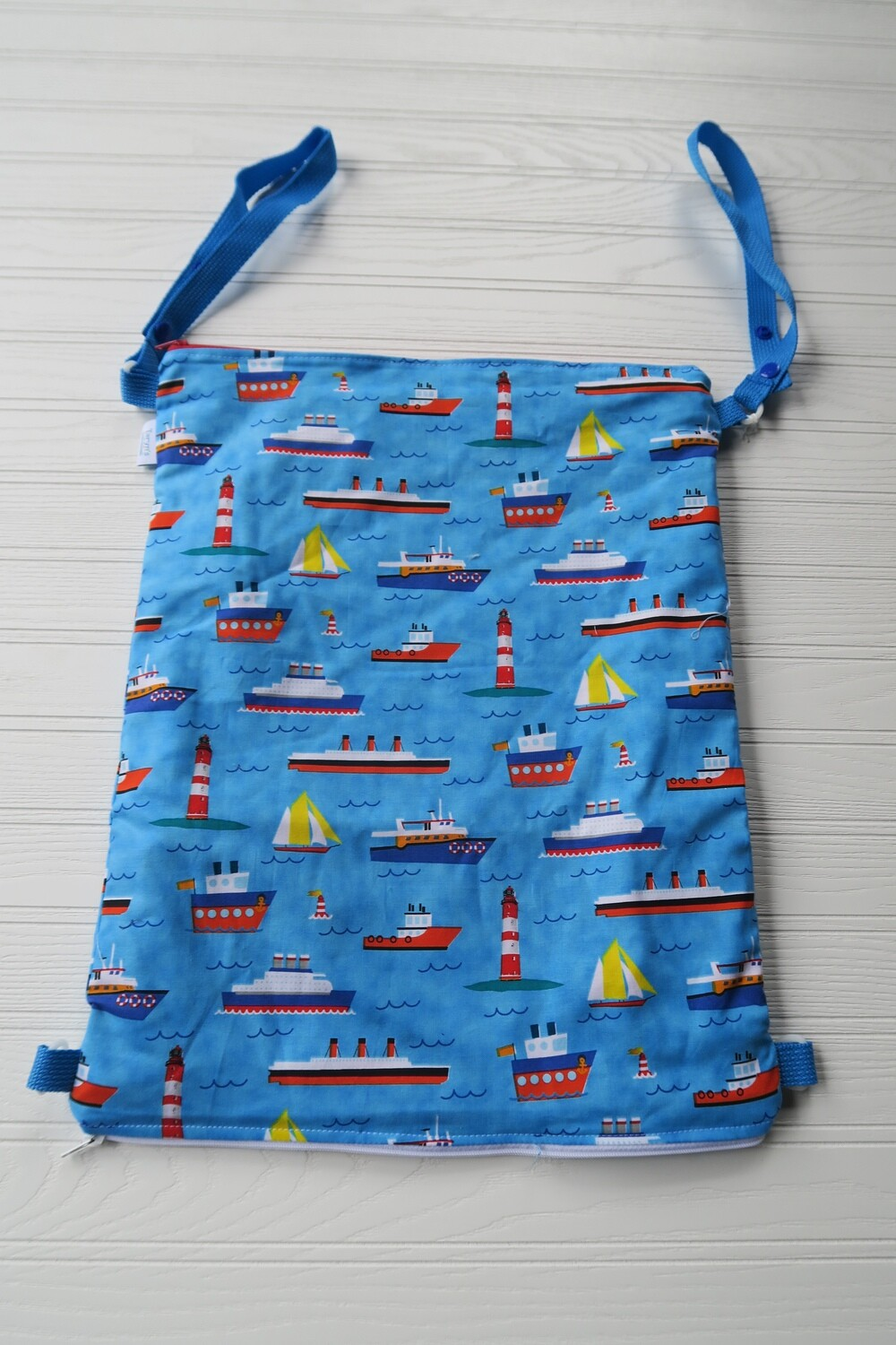 """Large Wet/ Dry Bag 15""""x 18"""" with Double Zip -Boats"""