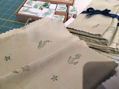 Furoshiki Hand Stamped Cloth Gift Wrap