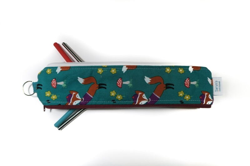Reusable Straw Bag, Double sided -Fox