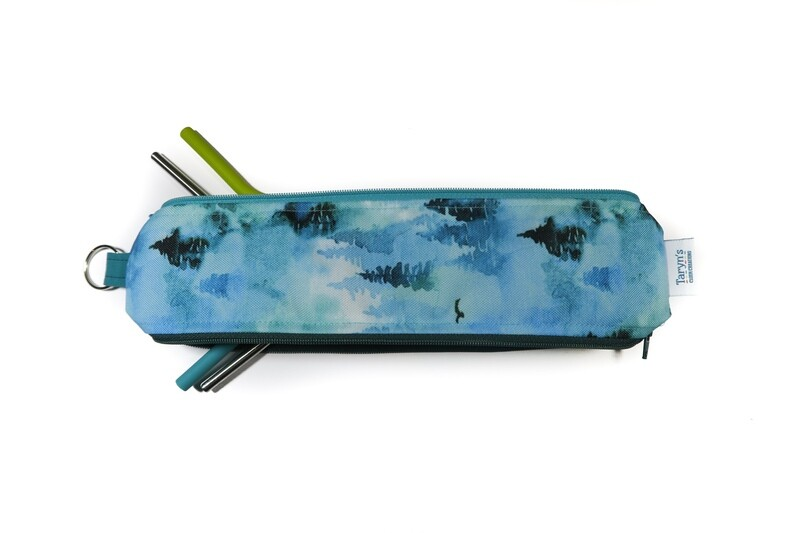 Reusable Straw Bag, double sided -Trees