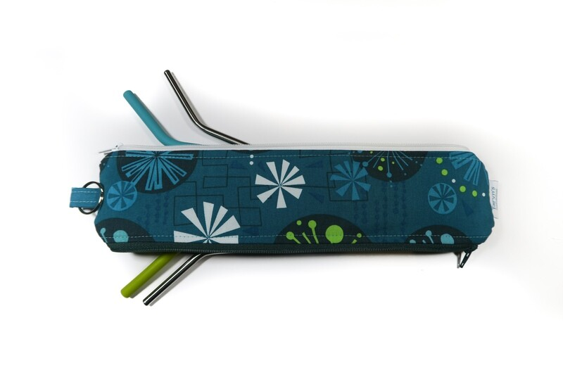 Reusable Straw Bag, double sided -Teal Fandangle