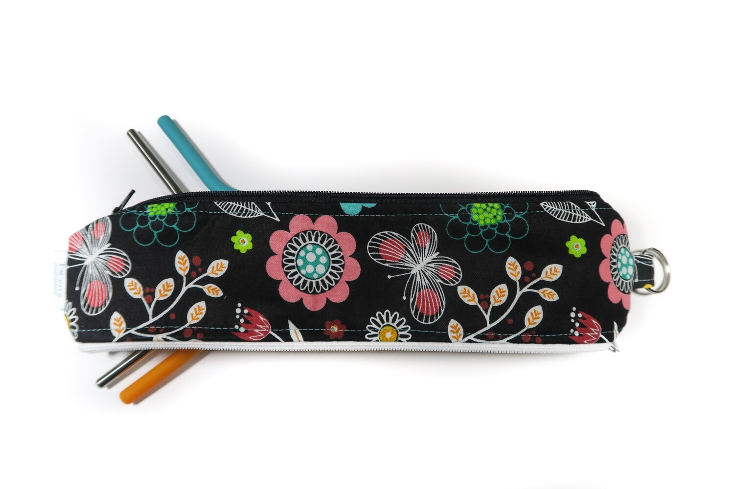 Reusable Straw Bag, double sided -Floral on Black