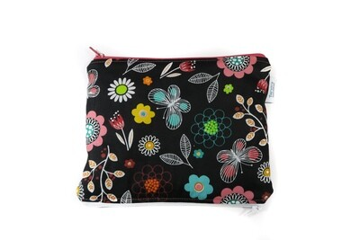 Small Double-sided Wet/dry Bag -Floral on Black
