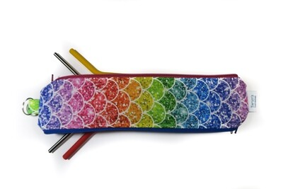 Reusable Straw Bag, Double sided -Rainbow Scales