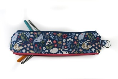 Reusable Straw Bag, Double sided -Cats