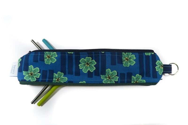 Reusable Straw Bag, Double sided -Blue Floral