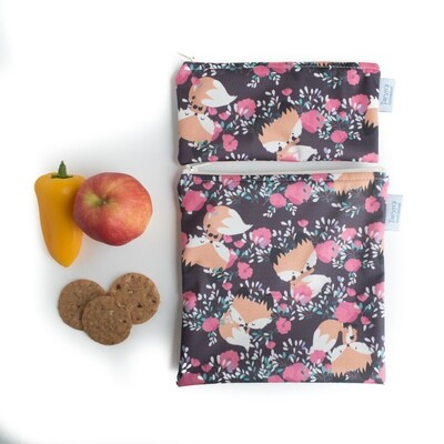 Reusable Snack and Sandwich Bag Set -Foxes