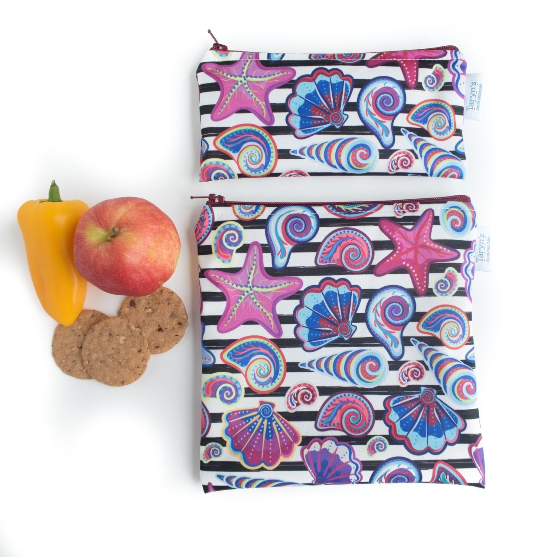 Reusable Snack and Sandwich Bag Set -Shells