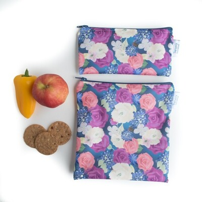 Reusable Snack and Sandwich Bag Set -Roses