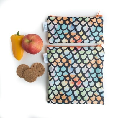 Reusable Snack and Sandwich Bag Set -Dragon Scales