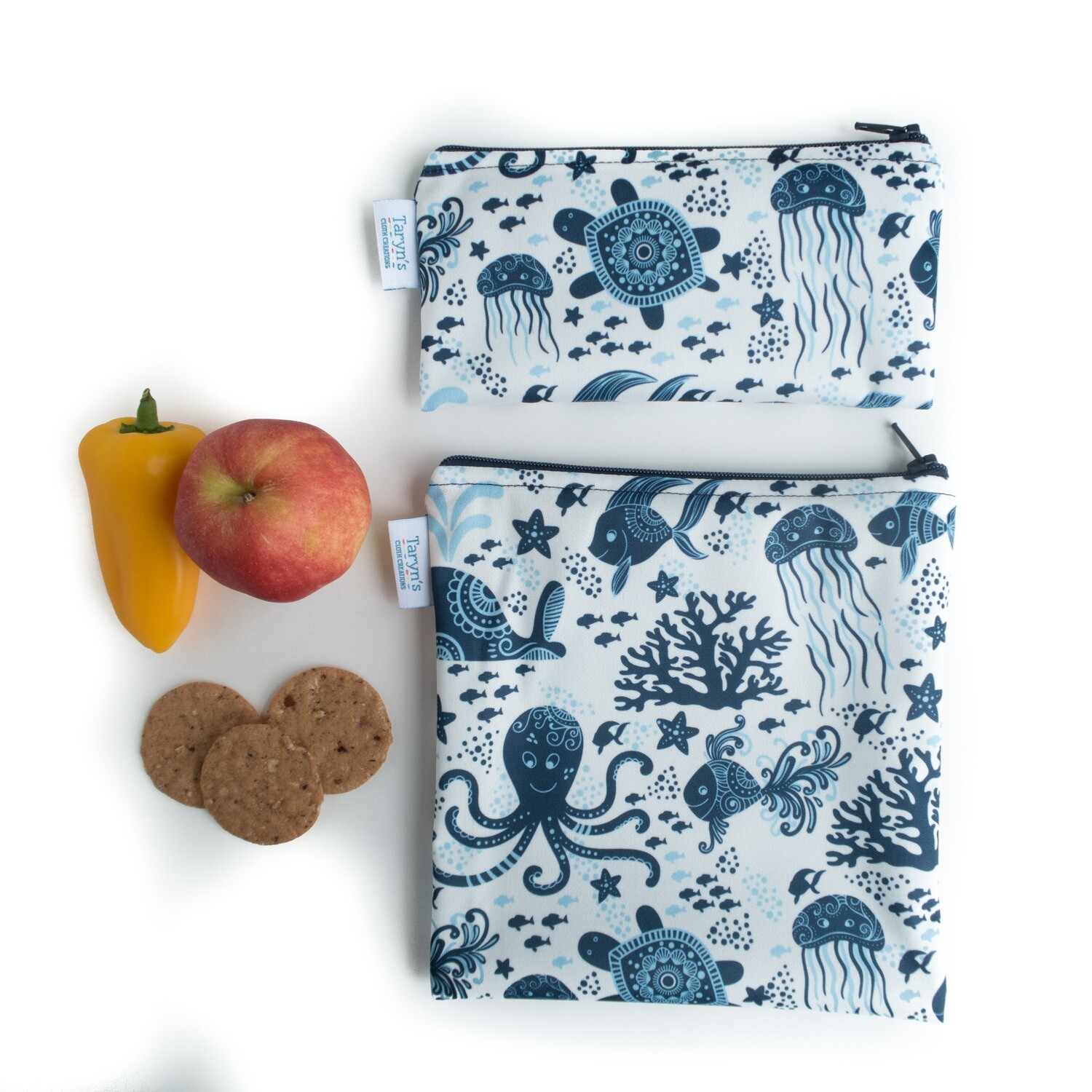 Reusable Snack and Sandwich Bag Set -Ocean Creatures