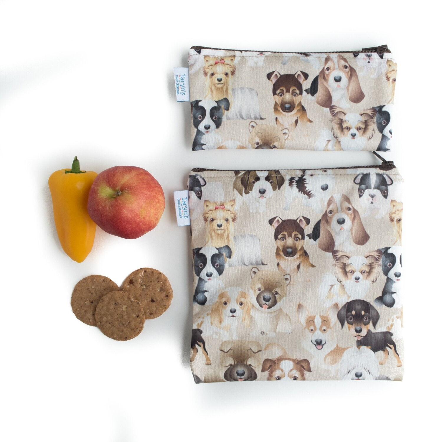Reusable Snack and Sandwich Bag Set -Dogs