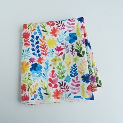 Reusable Straw Bag, double sided -watercolour flowers