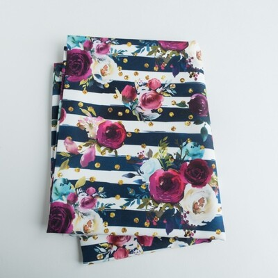 Reusable Straw Bag, double sided -Roses