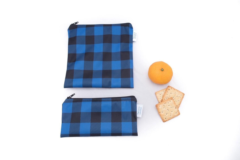 Reusable Snack and Sandwich Bag Set -Blue Plaid