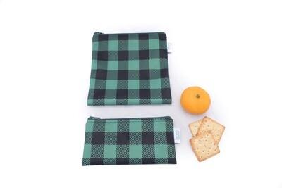 Reusable Snack and Sandwich Bag Set -Green Plaid