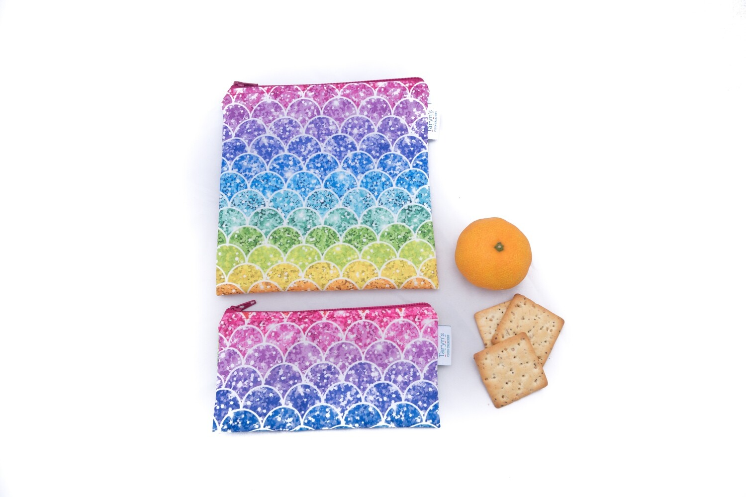 Reusable Snack and Sandwich Bag Set -Rainbow Scales