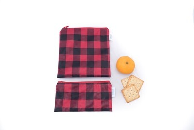 Reusable Snack and Sandwich Bag Set -Red Plaid