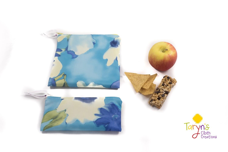 Reusable Snack and Sandwich Bag Set -Blue floral