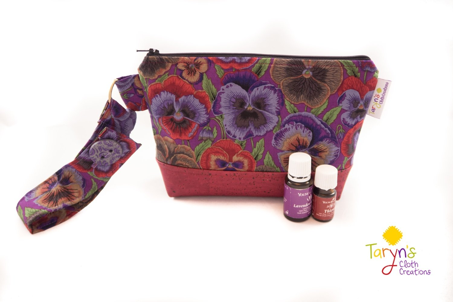Large Cork Case with Handle -Pansies