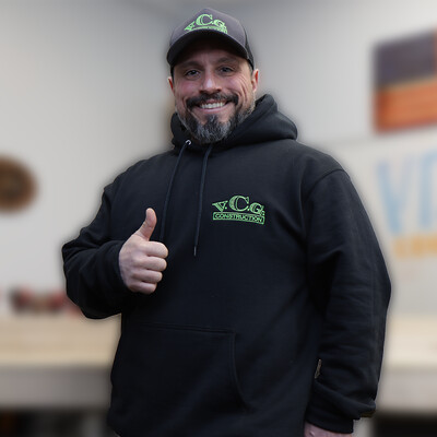 Black Hoodie ***LIMITED TIME*** High Viz Green Embroidered VCG Construction Logo