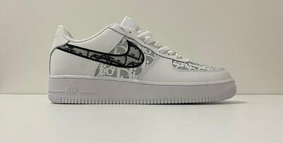 Custom Sneaker - Nike AF1 Black Swoosh
