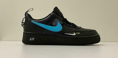 Custom Sneaker - Nike Air Force 1 Blue Swoosh Black