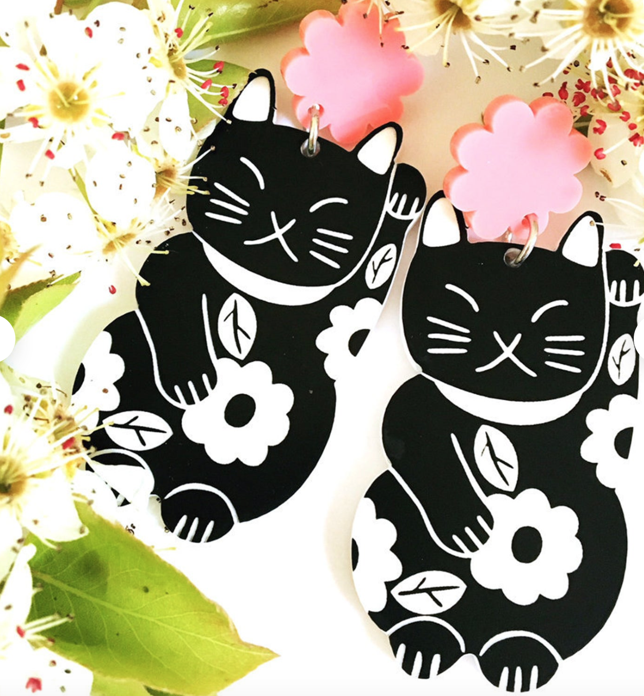 Lucky Cat Dangle Earrings by Blossom and Cat