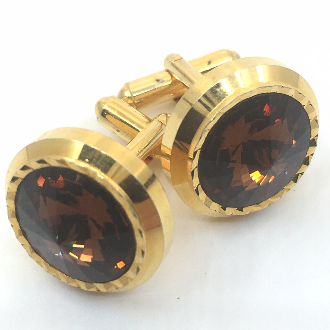 Vintage Amber Faceted Cufflinks