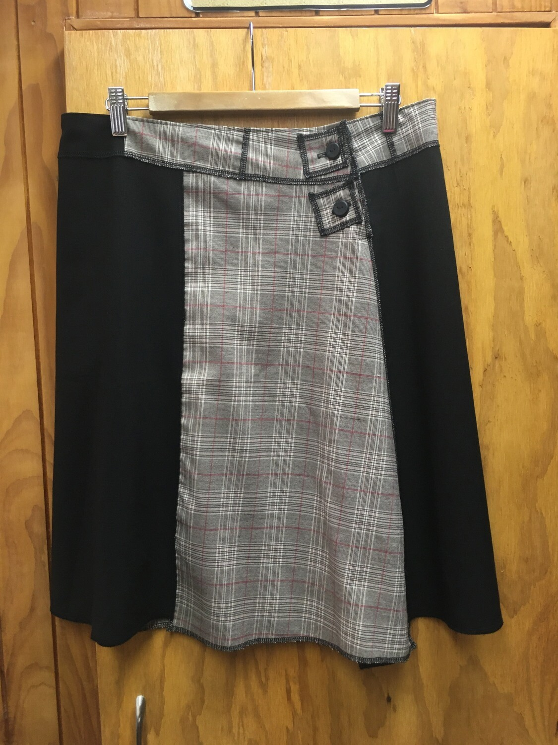 Black & Check Asymmetric Skirt - Size 12