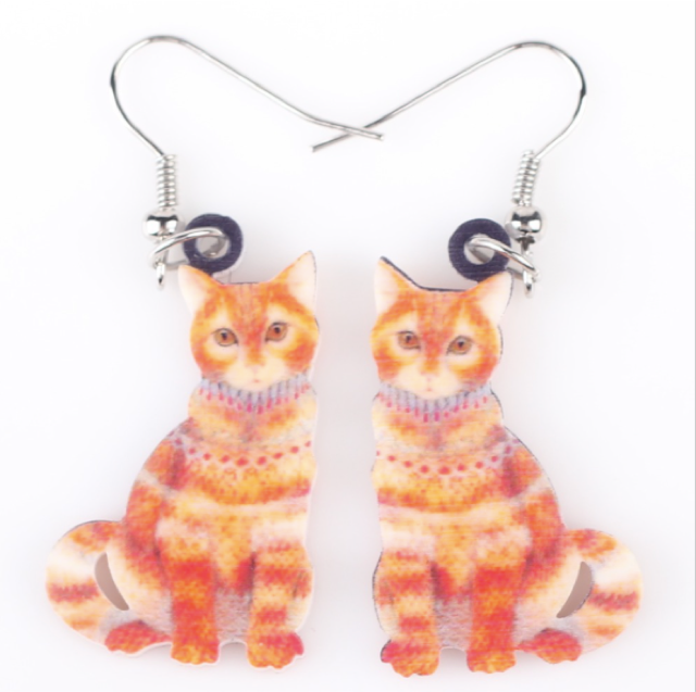 Madame Ginger Acrylic Cat Earrings