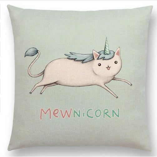 Mewnicorn Cat Unicorn Cushion Cover