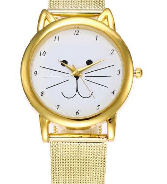 Gold Mesh Cat face Watch