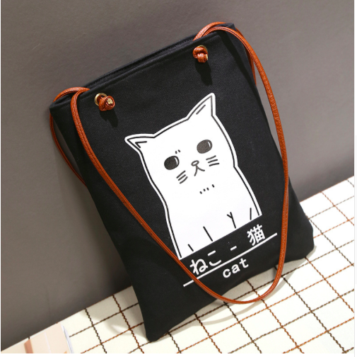 White Cat on Black Canvas Tote