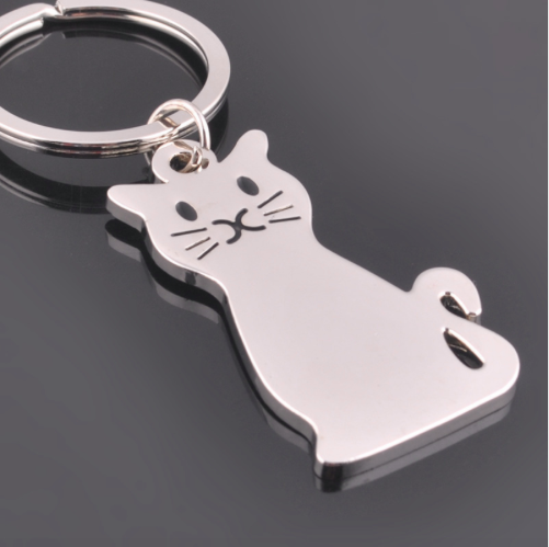 Silver Tone Kitty Keyring