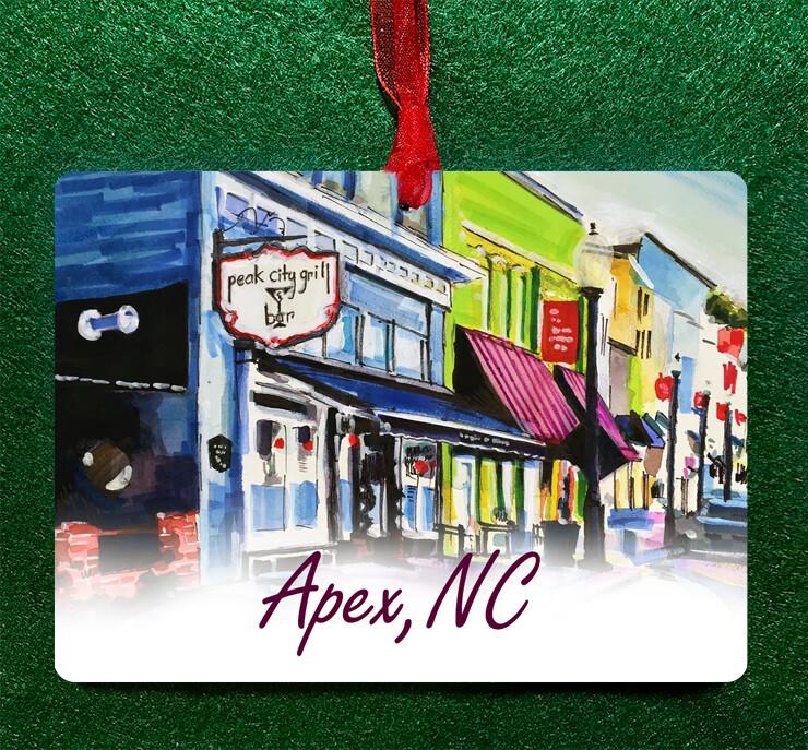 "Apex, NC - Peak City - 4.5""x3.5"" - Ornament"