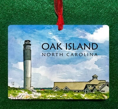 "Oak Island, NC - Oak Island Lighthouse - 4.5""x3.5"" - Ornament"