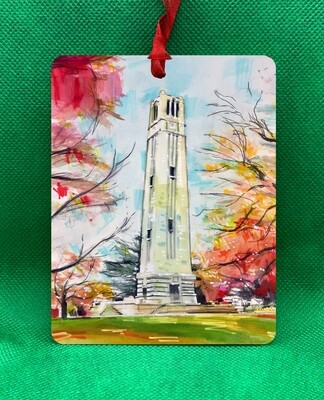 "Raleigh, NC - NC State - Bell Tower - 4.5""x3.5"" - Ornament"
