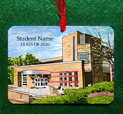 Raleigh, NC - Sanderson High School Personalized Ornament
