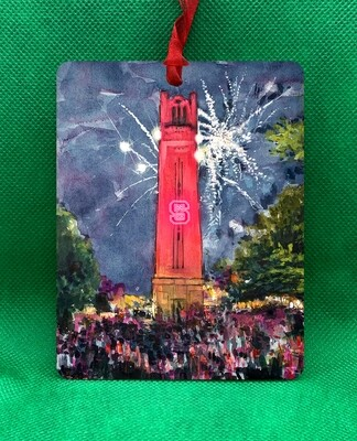 "Raleigh, NC - NC State - Bell Tower ""Light It Up"" Ornament"