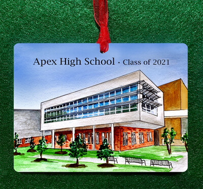 "Apex, NC - Double Sided Apex High School - 4.5""x3.5"" - Ornament"