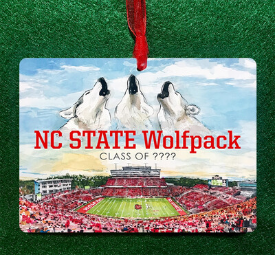 "Raleigh, NC - NC State - Carter-Finley Stadium - 4.5""x3.5"" - Ornament - PERSONALIZED"