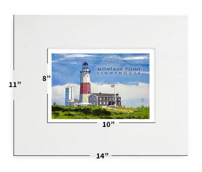 "Montauk, NY- Montauk Point Lighthouse - 11""x14"" - Matted Print"
