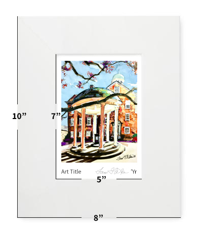 """Chapel Hill, NC - UNC - Old Well - 8""""x10"""" - Matted Print"""