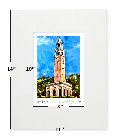 """Chapel Hill, NC - UNC - Bell Tower - 11""""x14"""" - Matted Print"""