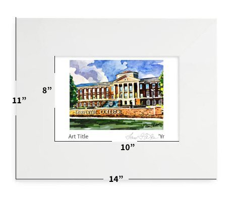 """Raleigh, NC - Meredith College - 11""""x14"""" - Matted Print"""