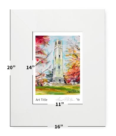 """Raleigh, NC - NC State - Bell Tower - 16""""x20"""" - Matted Print"""